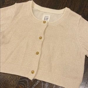 Gold sparkle Baby Gap Cropped Cardigan